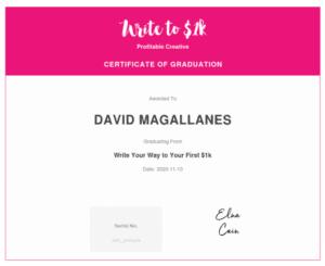 Write to $1K Training Certificate