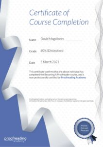Proofreading Academy Certificate
